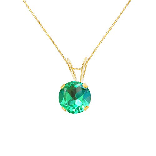 "Genuine 10K Solid Yellow Gold 5mm Round Created Green Sapphire 18"" Rope Chain Necklace"