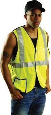 Occulux Breakaway Vest - OccuNomix 3X Hi-Viz Yellow OccuLux® Premium Light Weight Polyester Mesh Class 2 5-Point Break-Away Vest With Front Hook And Loop Closure And 3M Scotchlite 2