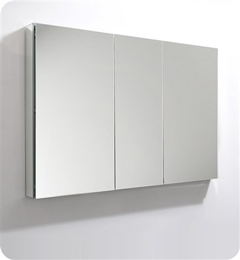 "Fresca 50"" Wide x 36"" Tall Bathroom Medicine Cabinet w/ Mirrors - Dimensions: 49""W x 36""H x 5""D Materials: Anodized Aluminum Frame Provides Moisture and Dust Resistant Interior Modern Frameless Design - shelves-cabinets, bathroom-fixtures-hardware, bathroom - 31kMCa4P8zL -"