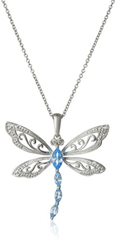 Sterling Silver Swiss Blue Topaz and Diamond Dragonfly Pendant Necklace (0.01 cttw, I-J Color 12-13 Clarity), 18