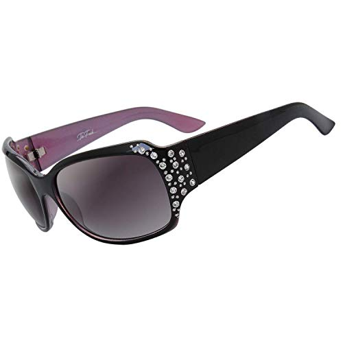 The Fresh Trendy Classic Women Hot Fashion Rhinestones Sunglasses with Gift Box (1-Black/Pink, Gradient grey)