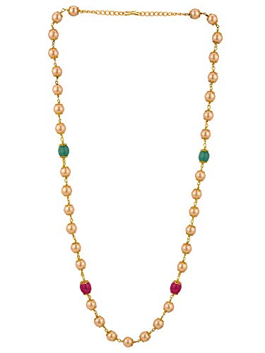 Efulgenz Indian 14 K Gold Plated Faux Red Green Pearl Chain Necklace Beads Strand Fashion Costume ()