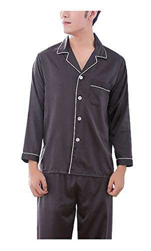 Respeedime Autumn Home Service Silk Pajamas Summer Men 's Long Sleeved Trousers Sets Sleepwear Black-Gray Size L ()