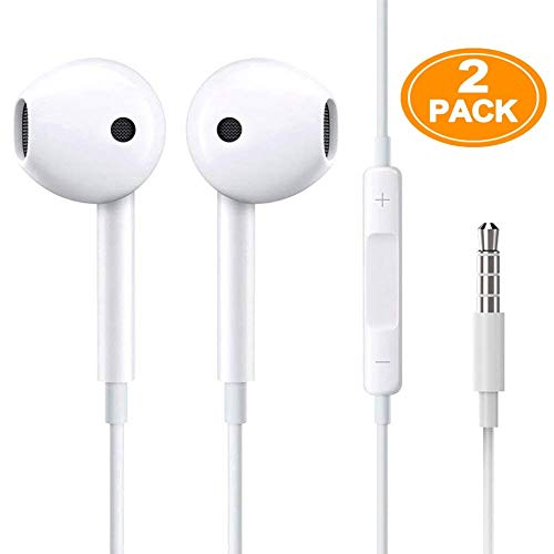 (2 Pack) Aux Headphones/Earphones/Earbuds 3.5mm Wired Headphones Noise Isolating Earphones with Built-in Microphone & Volume Control Compatible with Phone 6 SE 5S 4 Pod Pad /Android MP3