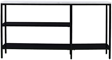 Holly Martin Corman Narrow Console Table – Black w Light Gray Faux Marble – 56 W x 12 D x 29 H