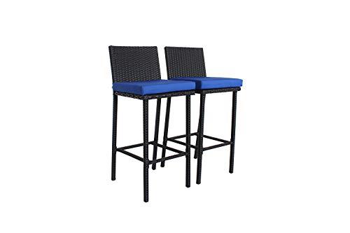 ure Rattan Black Wicker Cushioned Barstool(Navy Blue Cushions,Set of 2) ()