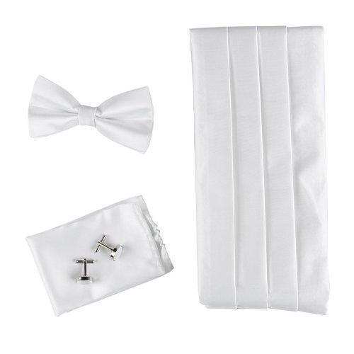 White Cummerbund Set (White Formal Pre-tied Bow Tie Hanky and Cummerbund Cufflinks Set with Gift Box Cm1005  White)
