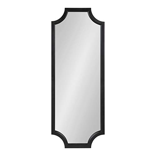 Kate and Laurel Hogan Wood Framed Full-Length Wall Mirror with Scallop Corners, 18x48 Inches, Black ()
