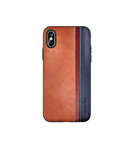 MARYBLE Color Stripes Design PU Leather Phone Case for iPhone X (2017) / iPhone Xs case (2018) (Slim Pu Leather Design)