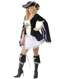 [FunWorld Midnight Musketeer, Black, 2-8 Small Costume] (Musketeer Costume Female)