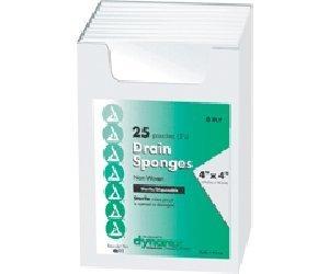 Dynarex NON-WOVEN DRAIN AND IV SPONGES STERILE 4X4, 6-PLY, STRL 2'S, 600/CASE
