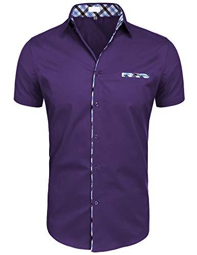 Hotouch Men Short Sleeve Button Down Shirt Purple XXL from Hotouch