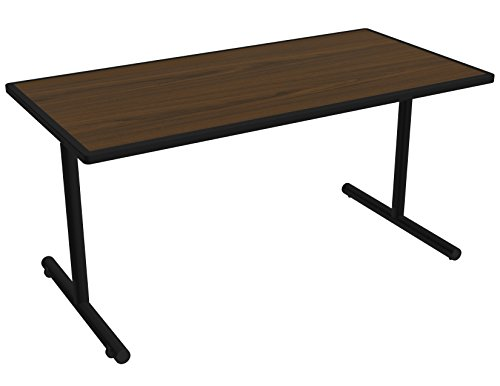 Nomad by Palmer Hamilton ATTGO293060-MWBLKSM Fixed Leg Standard Weight Aero GO T-Base Table with Built in Casters, Black Frame, Black Smart Edge, Rectangular, 60