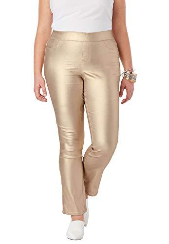 Roamans Women's Plus Size No-Gap Slim Bootcut Jean - Sparkling Champagne, 18 ()