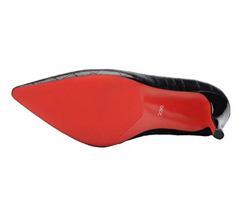 Laikajindun Scarpe Da Donna Scarpe A Punta In Pelle Scarpe Con Tacco A Spillo In Pelle Nero