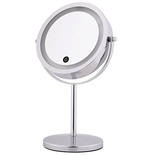Freestanding Magnifying Mirror (MonkeyJack Free Standing 10x Magnification Lighted Dual Sided 360° Vanity Women Makeup Shaving Comestic Mirror)