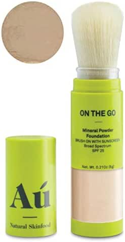 On the Go Mineral Powder Brush-On Sunscreen (Medium) by Au Natural Skinfood   Broad Spectrum SPF 25 UVA/UVB Protection   Oil-free; Reef Safe; Translucent Tinted Sun Safety for Men, Women, and Children