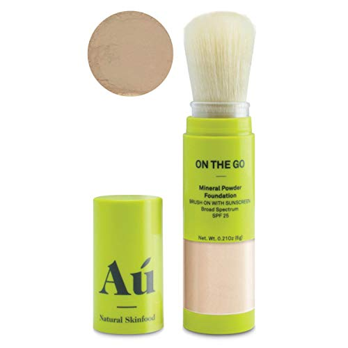 On the Go Mineral Powder Tinted Brush-on Sunscreen by Au Natural Skinfood | Broad Spectrum SPF 25 | Oil-free; Paraben, Fragrance Free in Medium | Certified | Food For Your Skin | .21 ounce (Use Of Zinc Oxide In Face Powder)