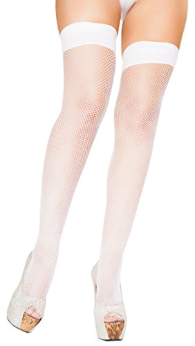- Sexy Pop Princess Fishnet Lingerie Stockings - White - One Size Fits Most