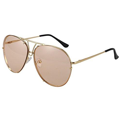marron de mujer de multicolor Marron sol SODIAL UV400 marco gran Gafas masculino de femenino lujo de Gafas lente rosado sol gradiente de tamano de metal FqtwASct