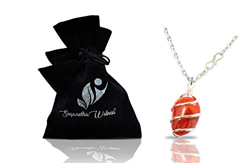 Natural Carnelian Crystal Healing Necklace - For Sacral Chakra | Enhances Vitality, Motivation, Endurance, Leadership, Courage & Creativity. Boosts Self Confidence | With Stylish Stainless Steel Chain