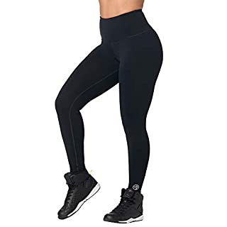 Zumba High Waisted Leggings for Women Dance Compression Butt Lift Workout Pants, Bold Black, M
