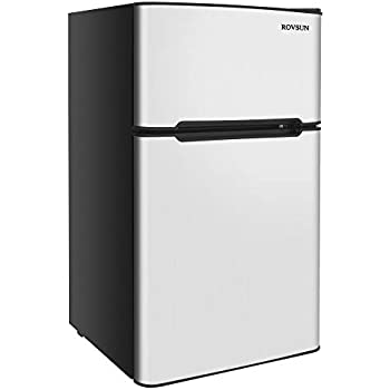 ROVSUN 2 Door Compact Refrigerator with Freezer, 3.2 CU FT Fridge Cooler with Ice Tray, Scraper