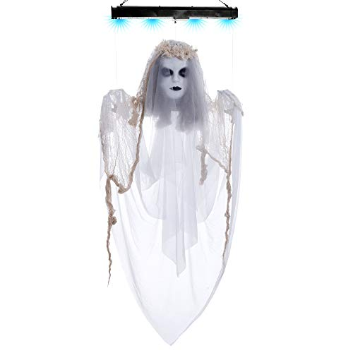 Zombie Cat Prop (Halloween Haunters Animated 4 Foot Hanging Floating Scary White Ghost Lady Prop Decoration - Arms & Head Float Up & Down, Scary Laugh, Blue Lights - Haunted House Graveyard Entryway)