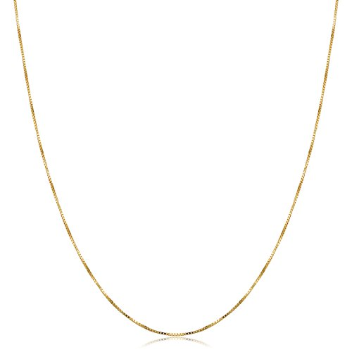 Kooljewelry 10k Yellow Gold Venetian Box Chain Necklace (0.5 mm, 16 inch) ()