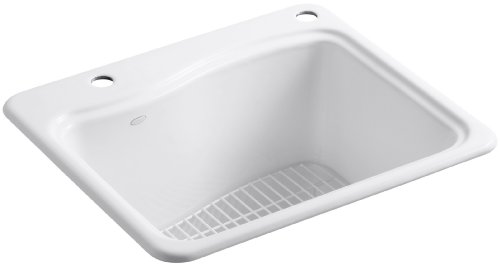 Kohler K-6657-2R-0 River Falls Self-Rimming Sink with Two-Hole Drilling for Single-Hole Faucet and Right-Hand Accessory, White