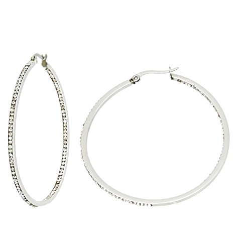 Stainless Steel Hoops with Clear Crystal Rhinestones Inside and Out 1