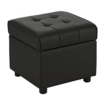 Elegant DHP Emily Square Storage Ottoman, Modern Look With Tufted Design,  Lightweight, Black Faux