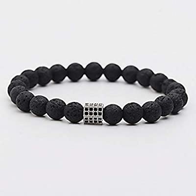 2973ea19815d Amazon.com  Florance jones 8MM Natural Bracelets Black CZ Bead Lava Beaded  Stretch Healing Bracelets Unisex
