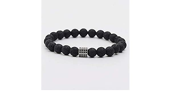 08412ee2d Amazon.com: Florance jones 8MM Natural Bracelets Black CZ Bead Lava Beaded  Stretch Healing Bracelets Unisex | Model BRCLT - 35123 |: Arts, Crafts &  Sewing