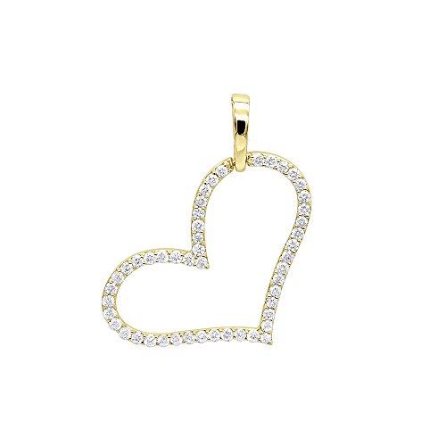 Gold Diamond Open Heart (Ladies Heart Jewelry 14K Gold Open Heart Diamond Pendant Necklace 1ctw (Yellow Gold))