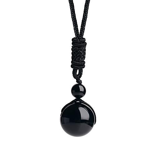 iSTONE Unisex Genuine Round Gemstone Beads 20mm Black Agate Pendant Necklace with Adjustable Nylon Cord 24 Inch