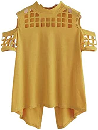 T-shirt For Ladies With Round Collar And Open Shoulder And Shoulder Sleeves