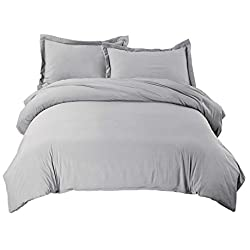 "Bedsure Duvet Cover Set with Zipper Closure Solid Grey Full/Queen Size(90""x90"")-3 Pieces (1 Duvet Cover + 2 Pillow Shams) Ultra Soft Hypoallergenic Microfiber"