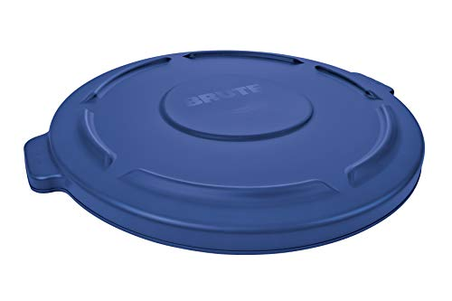 Rubbermaid Commercial Products 1779731 Brute Heavy-Duty Round Trash/Garbage Lid, 20-Gallon, Blue ()