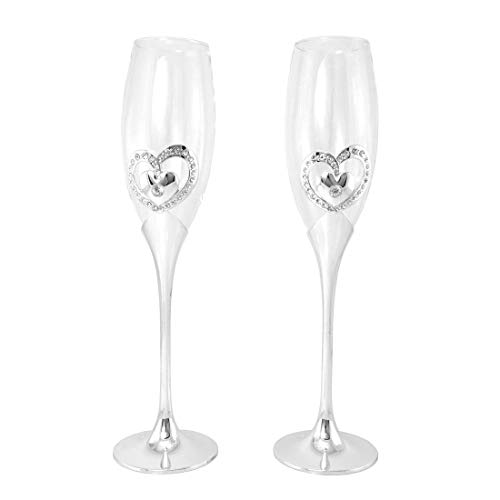 Gifts Infinity Wedding Champagne Flutes Set of 2 Toasting Glasses (Double Heart)