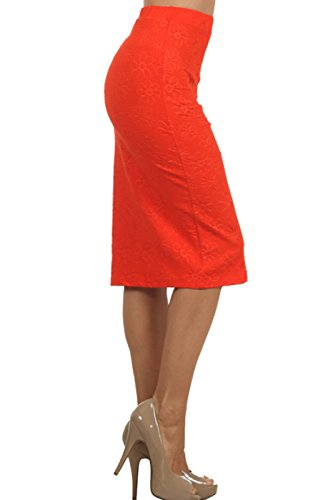2LUV Women's Mix Print High Waisted Knee Length Pencil Skirt Red M (S170-7 RY) by 2LUV (Image #2)