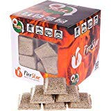 Fire Starter Squares - Firestarter Cubes Pack 50pcs - Charcoal briquette for BBQ, Fireplace and Camping - Firestarters made from wood and wax - Grill Starter burns up to 12 min