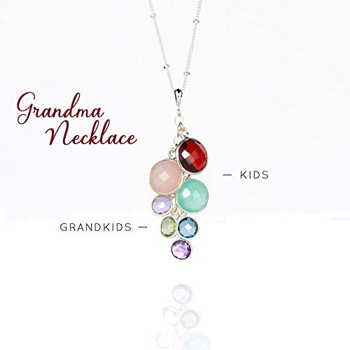Custom Grandmother's Pendant Necklace with Kids and Grandkids Birthstones [RDCS-M/S]