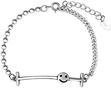 HQY Sterling 925 zilveren Smiley armband eenvoudige persoonlijkheid dames ronde zilveren armband