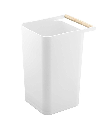 Mission Trash Bin - Original Japanese Design Trash Can with Wooden Handle, White