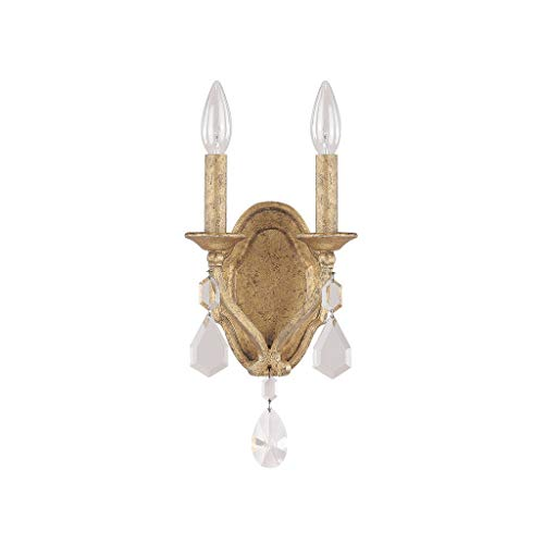 Two Gold Light Antique (Capital Lighting 1617AG-CR Blakely 2-Light Wall Sconce, Antique Gold Finish with Clear Crystal Accents)
