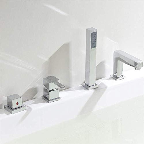 ZXY-NAN システムバス 手持ちバスプルアウトシャワーヘッドの耐久性(色:シルバー) と蛇口4ホールユニバーサルバスタブ洗面蛇口 シャワー 降雨 取付簡単 シャワーヘッド ホース セット
