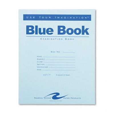 Roaring Spring Exam Blue Book, Margin Rule, 8-1/2 x 7 Inches, White, 4 Sht/8 Page(77510)