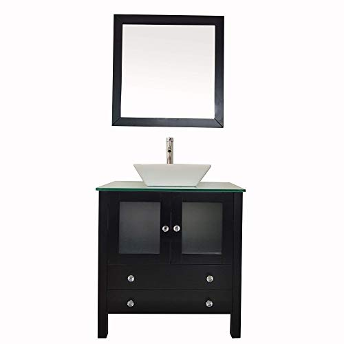 - 30'' Bathroom Vanity Modern Wood Cabinet with Vanity Mirror Tempered Glass Counter Top Vessel Sink (30'' Black)