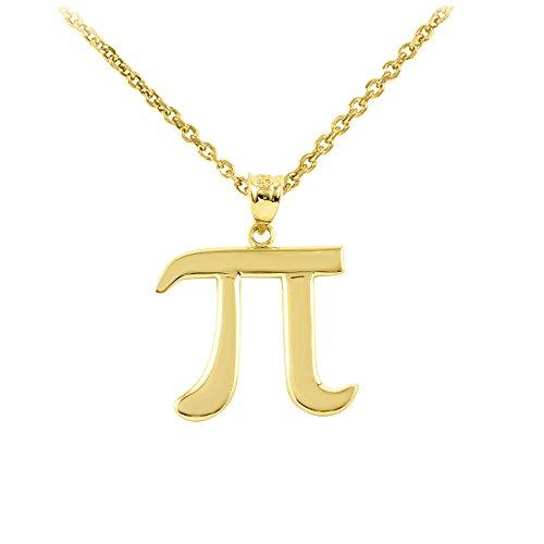 "14k Gold Mathematical Pi Symbol Pendant Necklace, 16"""